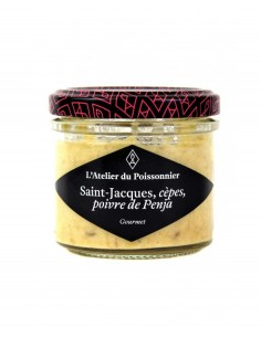 RILLETTES DE SAINT JACQUES AUX CEPES POIVRE 90gr- ATELIER DU POISSONNIER - Maison Ferrero - Epicerie à Ajaccio